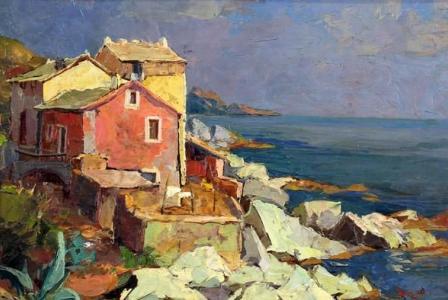Pierre BACH     :  Maison corse au bord de la mer