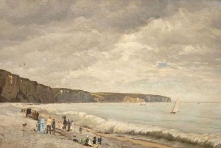 Auguste-Emile FLICK         :  Plage animée en Normandie