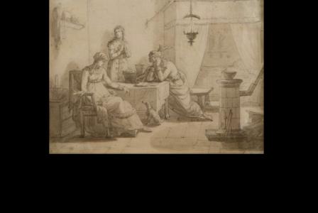 Jean-Baptiste ISABEY        :  Trois femmes dans un intérieur