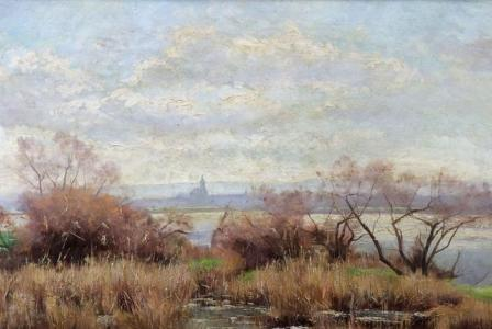 Henry LOUYOT       :  Bord de Meurthe, au loin l'Eglise de Bon Secours de Nancy