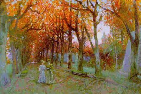 Charles MEIXMORON de DOMBASLE       :  La promenade dans la grande allée en automne