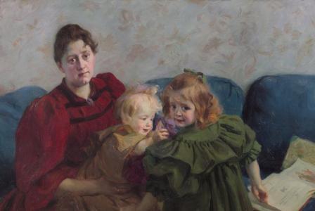 Victor-Emile  PROUVÉ       :           Portrait de Madame Meyer et de ses enfants