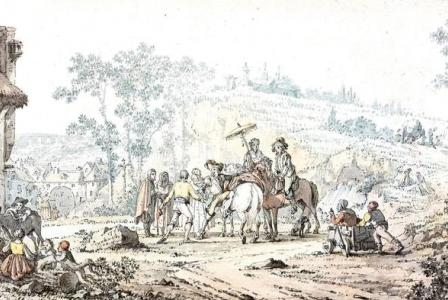 Jacques-François-Joseph SWEBACH       : La halte des cavaliers devant l'auberge