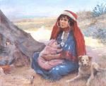 """Louis FLOT """" Femme d'Afrique du Nord et son enfant"""""""