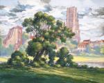 """Emile GALLOIS  """"Paysage d'Albi avec la cathédrale"""""""