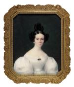 "Paul GOMIEN  ""Portrait de jeune femme en robe blanche"""