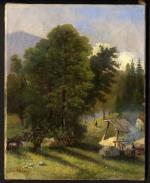 """Léon Nassoy  """"Paysage au charbonnier"""""""
