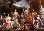 """Jean Nocret  """"Louis XIV et sa famille travestis en Dieux de l'Olympe"""""""