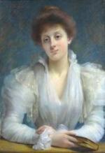 """Amélie VALENTINO  """"Portrait de femme tenant un livre"""""""