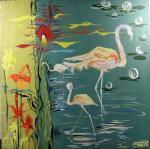 Michel COATANROCH       :  Flamands sur l'étang