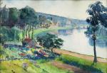 D. RICHIER       :  Boucle de la Meuse à Saint Mihiel, depuis les hauteurs,