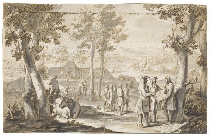 Attribué à Valentin Jamerai Duval       :  Leopold, Duke of Lorraine and his son François in the grounds of the Château de Lunéville