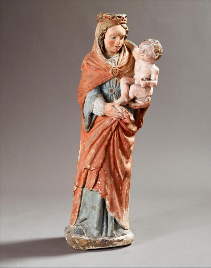 Ecole lorraine du XIVème siècle       :  Vierge à l'Enfant tenant une rose