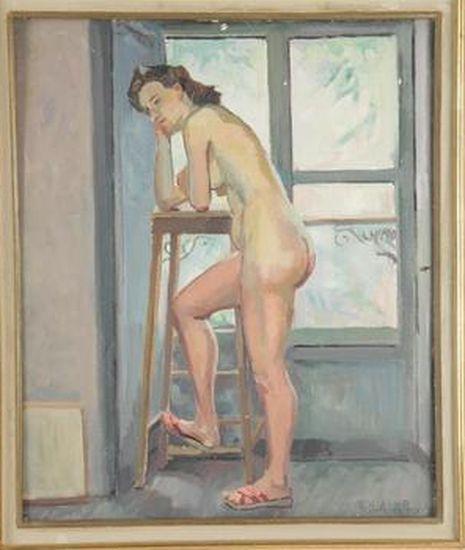 Thérèse BARTHELEMY-ROUYER       :   Nu féminin debout, accoudé à la sellette