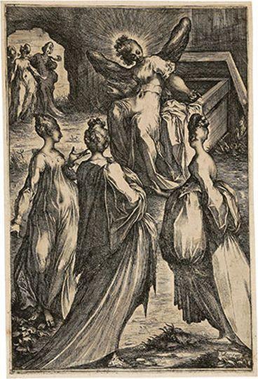 Jacques BELLANGE  (de)         :   Les Trois Maries au tombeau