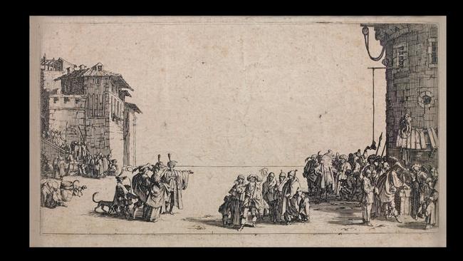 Jacques CALLOT       :  Le marché d'esclaves ou La petite vue de Paris