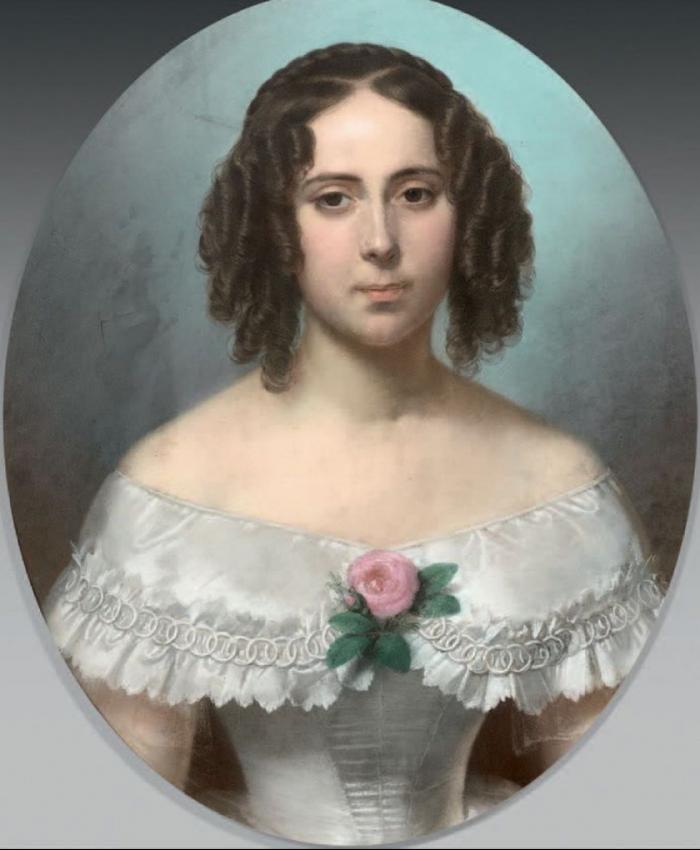 Théodore FANTIN-LATOUR       :     Portrait de  jeune fille à la rose