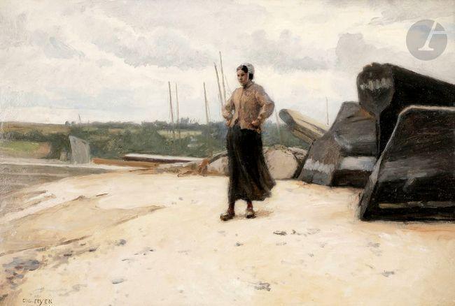 Jacques-Eugène FEYEN       :       La Cancalaise sur la grève