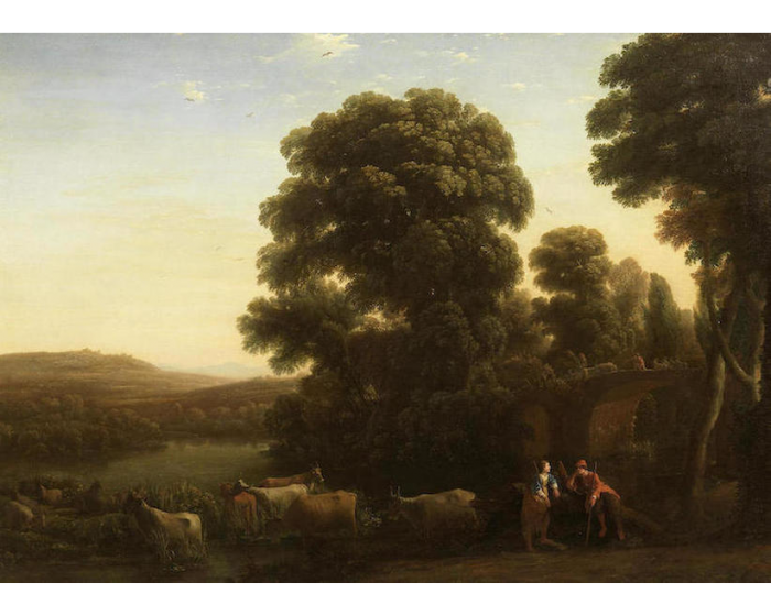 Claude GELLÉE le Lorrain          :    A pastoral landscape with a shepherd and shepherdess beside their livestock in an Arcadian landscape