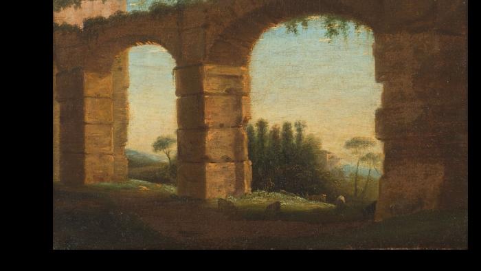 Claude GELLÉE le Lorrain          :    Paysage de la campagne romaine avec deux arches