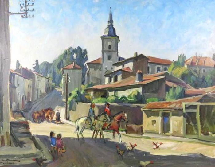 Léon HUSSON       -  Viterne, les deux cavaliers