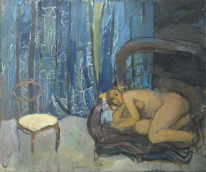 Jean LANGLOIS       :  Nu couché sur un grand fauteuil en osier, chaise et tissus bleus et blancs en fonds