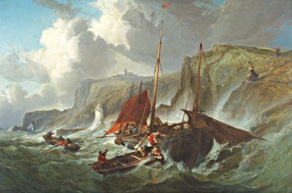 Jules-Achille NOEL       :  Un pêcheur faisant côte à Fécamp