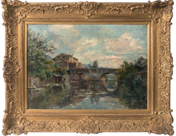 Edmond-Marie PETITJEAN         :       Paysage au pont