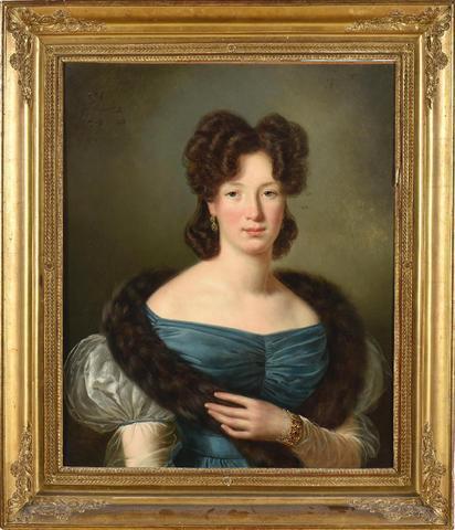Joseph VAUDECHAMP       :  Portrait de femme en robe bleue