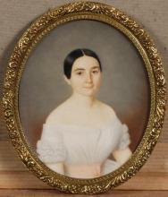 """A_Louis Emile BERTRAND  """"Portrait de jeune femme en buste"""""""