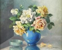"Robert BIACABE  ""Roses dans un vase bleu"""