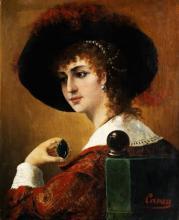 "Emile Jean-Baptiste CARON  "" Jeune femme tenant une broche"""