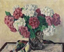 """Maurice CATAU  """"Hortensias dans un vase"""""""