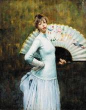 """Eugène CHAFFANEL  """"Jeune femme à l'éventail"""""""