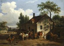 """Jean François DEMAY  """"Intérieur d'un village et la route"""""""