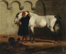 """Louis Théodore DEVILLY  """" Cheval à l'écurie"""""""