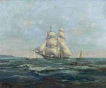 """Léon LE ROYER  """"Voiliers au large des côtes normandes"""""""