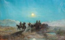 """Jules-Edouard de MAGY  """"Caravane la nuit dans le Sahara"""""""
