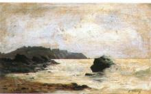 Edmond-Adolphe RUDAUX       :  Vue de Granville, le Roc et le Plat Gousset