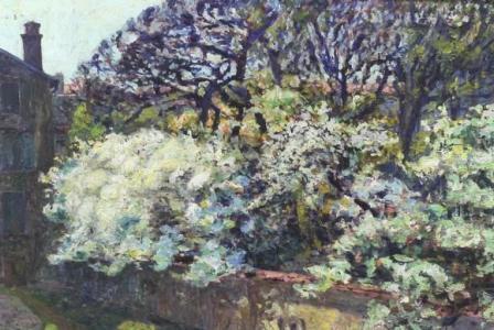 Auguste-Michel COLLE       :  Arbres en fleurs dans le jardin