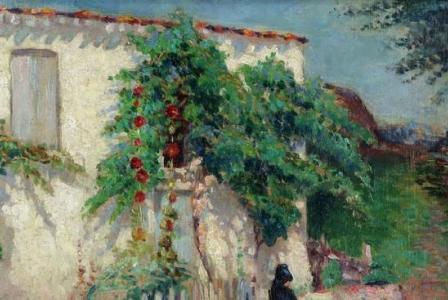 Jacques GRUBER       :  Femme assise devant sa maison