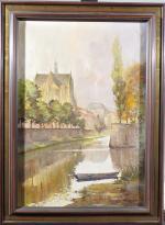 KARKOWSKI       :  La Moselle et la cathédrale de Metz