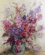 Aki VERHARR       :  Fleurs roses dans un pot de grès