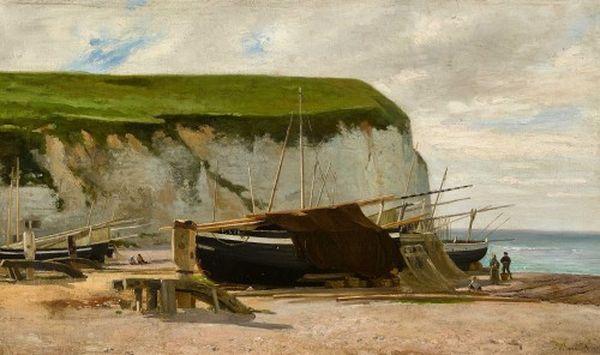 Léon BARILLOT       :  Nordfranzösiche strandpartie mit segelschiffen