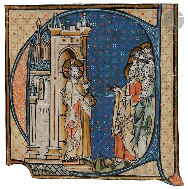 """ECOLE LORRAINE du XIVème siècle       :  Initiale """"E"""" historiée"""