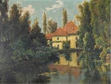 """Léon BAROTTE  """"Etang près du château"""""""