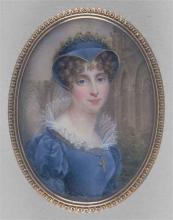 """Pauline AUGUSTIN née du CRUET """"Jeune femme en robe bleue"""""""