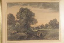 Louis-Alphonse GUERY         :  Paysage animé aux grands arbres